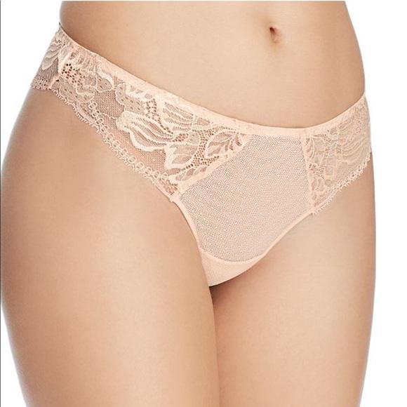 SIMONE PERELE Promesse Tanga Lace Panties In Petal